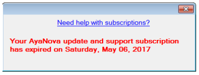 Subscription has expired
