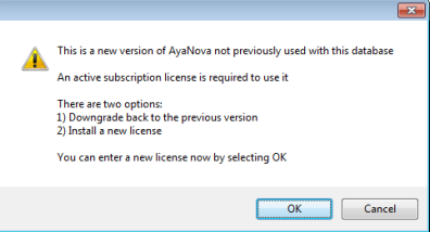 Program version requires AyaNova subscription