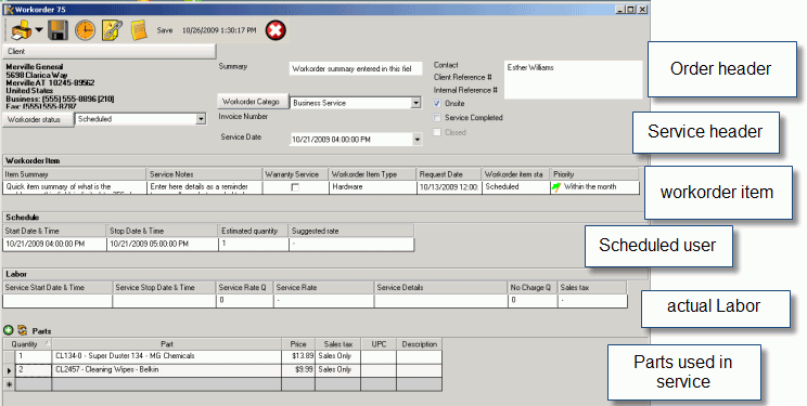 AyaNova Lite work order entry screen
